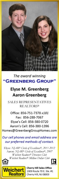 GreenbergGroup Weichert Sales Representatives.  Call 856-380-0720